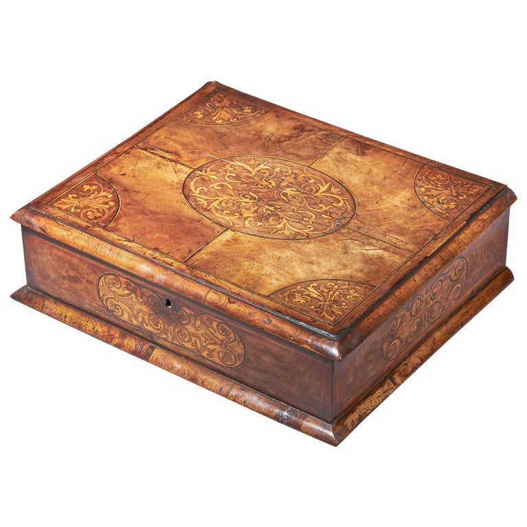 17th Century Figured Walnut and Seaweed Marquetry Lace Box For Sale