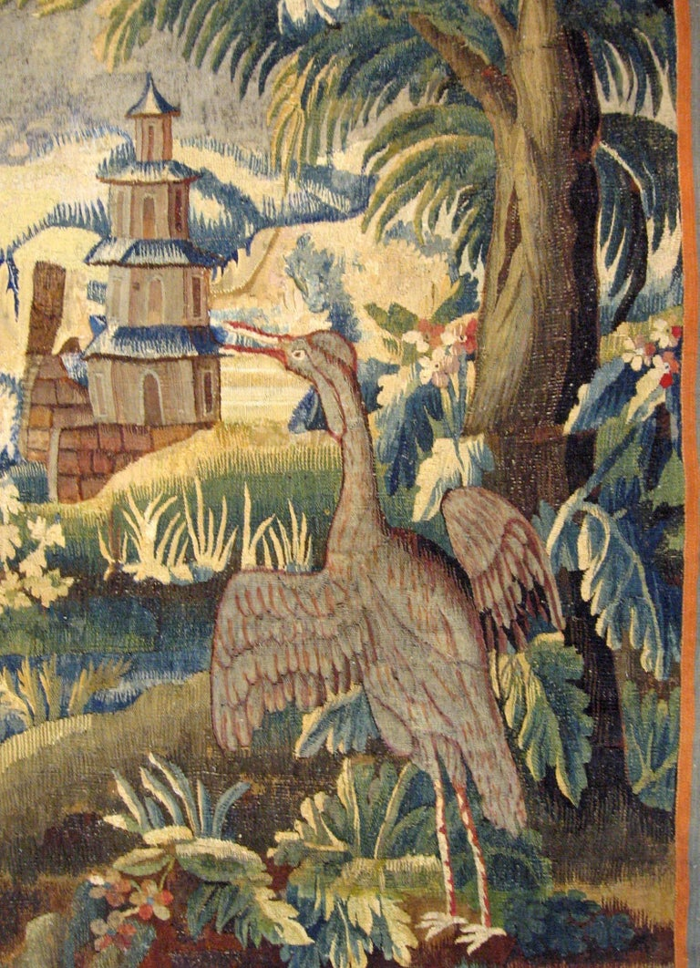 European 17th Century Flemish Chinoiserie Landscape Tapestry For Sale