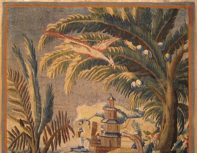 Hand-Woven 17th Century Flemish Chinoiserie Landscape Tapestry For Sale