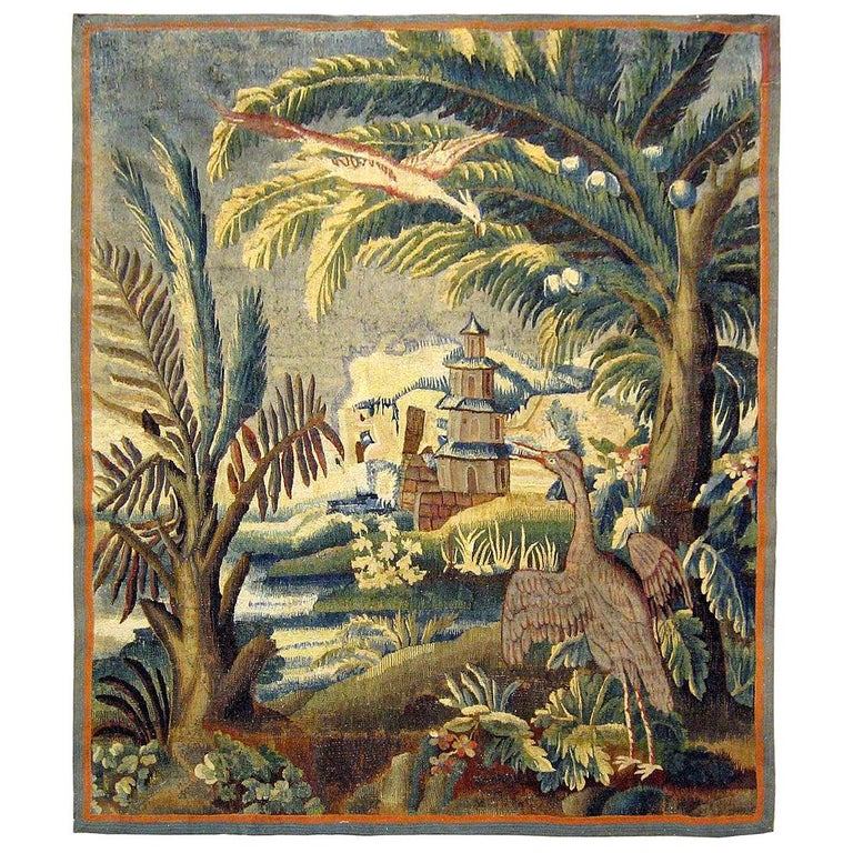 17th Century Flemish Chinoiserie Landscape Tapestry For Sale