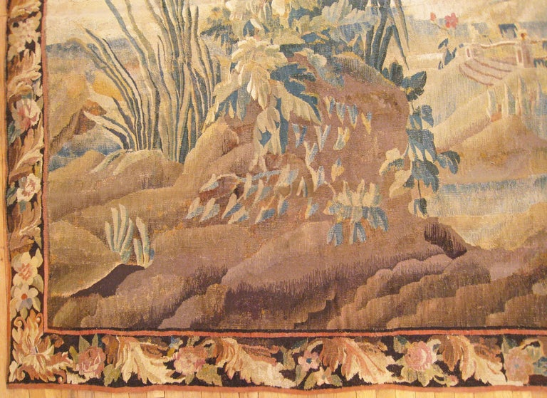 European 17th Century Flemish Chinoiserie Landscape Tapestry, with a Heron by a Lakeside For Sale