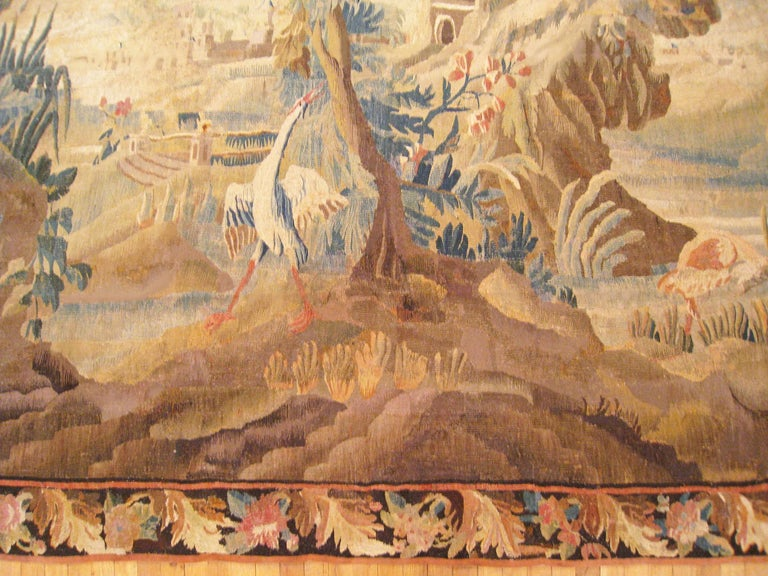 Hand-Woven 17th Century Flemish Chinoiserie Landscape Tapestry, with a Heron by a Lakeside For Sale