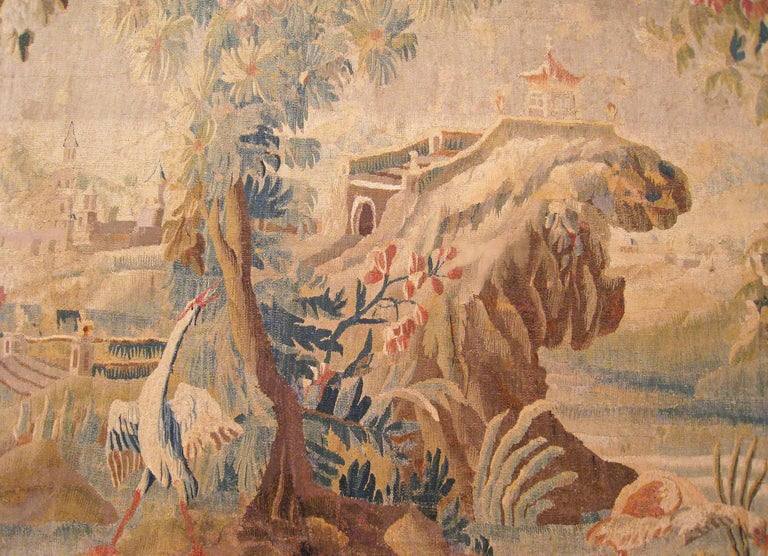 17th Century Flemish Chinoiserie Landscape Tapestry, with a Heron by a Lakeside In Good Condition For Sale In New York, NY
