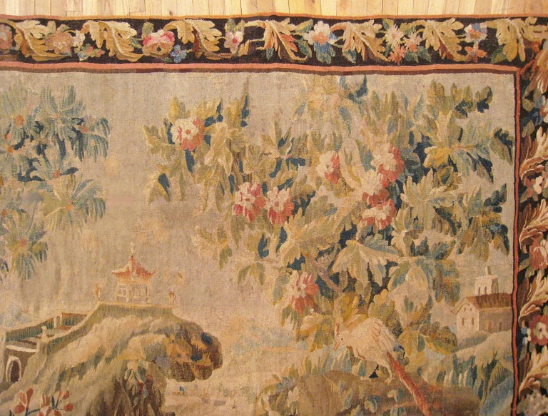 18th Century and Earlier 17th Century Flemish Chinoiserie Landscape Tapestry, with a Heron by a Lakeside For Sale