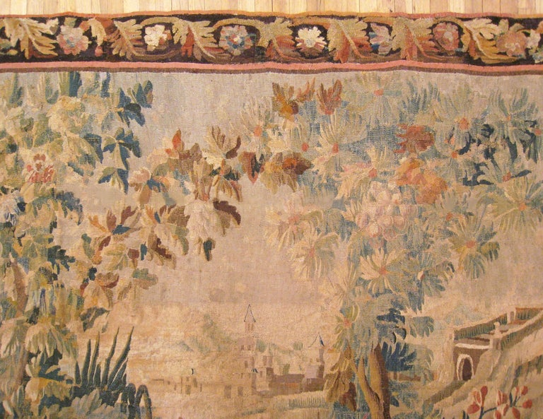 Wool 17th Century Flemish Chinoiserie Landscape Tapestry, with a Heron by a Lakeside For Sale