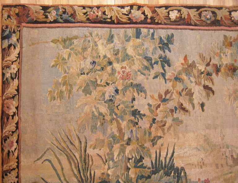 17th Century Flemish Chinoiserie Landscape Tapestry, with a Heron by a Lakeside For Sale 1