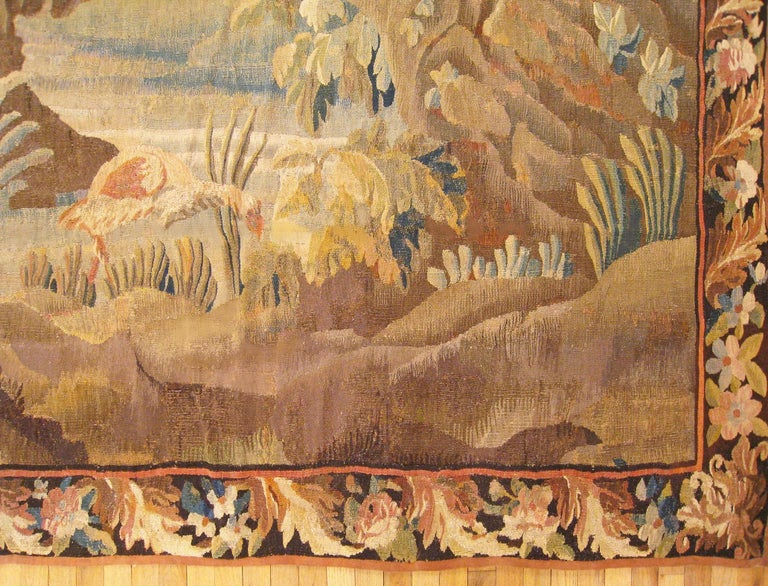 17th Century Flemish Chinoiserie Landscape Tapestry, with a Heron by a Lakeside For Sale 2