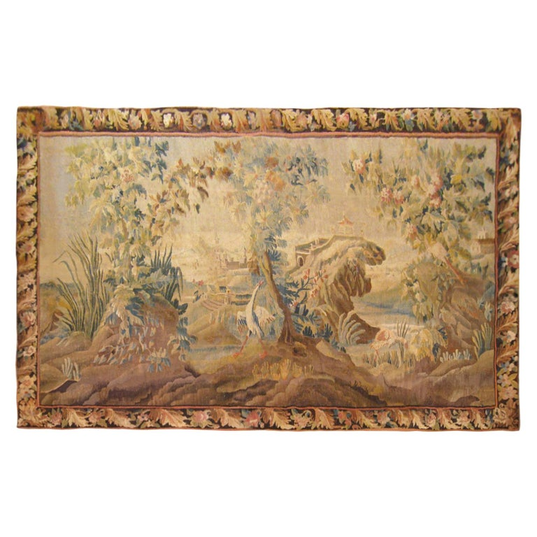 17th Century Flemish Chinoiserie Landscape Tapestry, with a Heron by a Lakeside For Sale