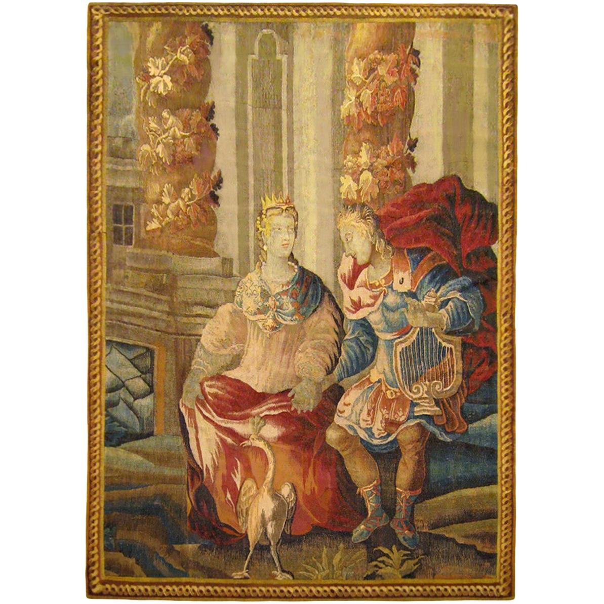 17th Century Flemish Mythological Tapestry, with the Deities Apollo & Artemis