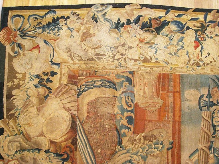 European 17th Century Flemish Mythological Tapestry, with Trojan War Scene and Border For Sale