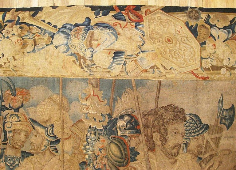 Hand-Woven 17th Century Flemish Mythological Tapestry, with Trojan War Scene and Border For Sale