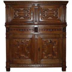 17th Century Flemish Oak Renaissance Cupboard