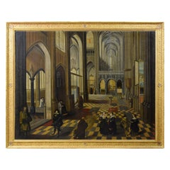 17th Century, Flemish Oil Painting with the Interior of Antwerp Cathedral