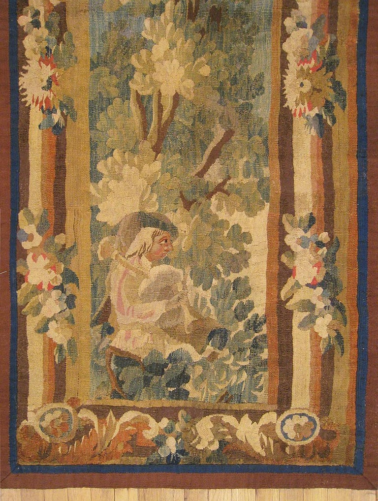 European 17th Century Flemish Pastoral Landscape Tapestry For Sale