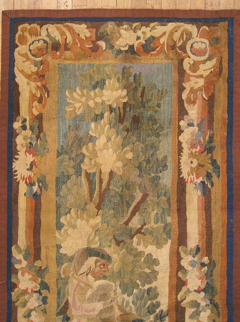 Hand-Woven 17th Century Flemish Pastoral Landscape Tapestry For Sale