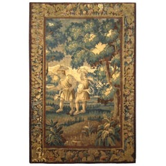 17th Century Flemish Rustic Verdure Tapestry, with Youths at Play in the Woods