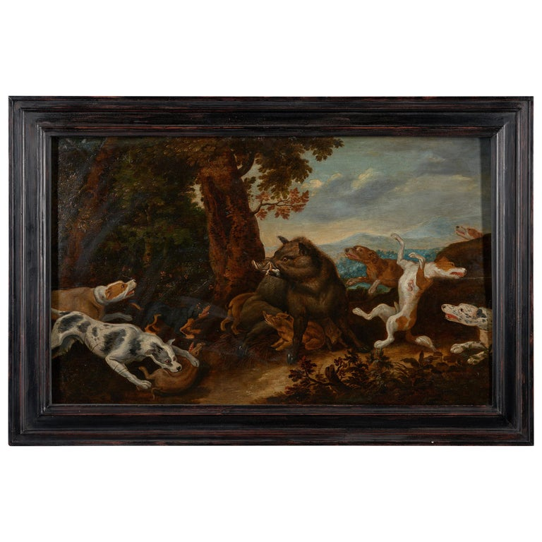 17th Century Flemish Shool Antwerp Wild Boar Hunt in the Style of Frans Snijders For Sale