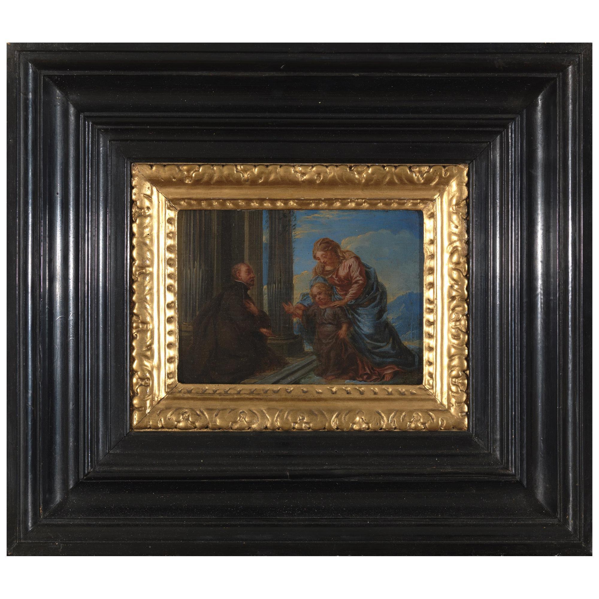 17th Century Flemish School 'monogram IG or LG', Maria and Christ, Oil on Panel