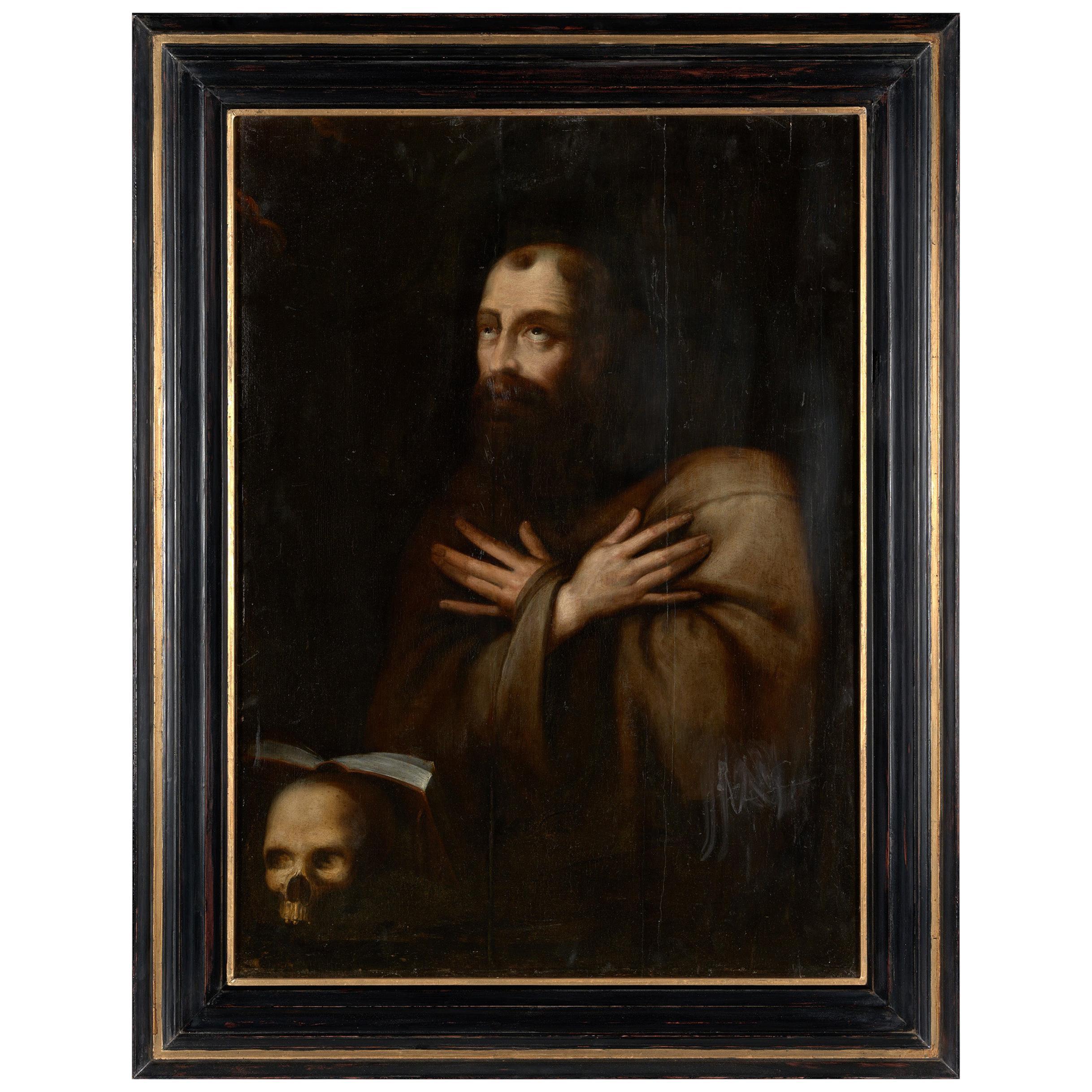 17th Century Flemish School, Saint Francis In Extasy, Oil on Oak Panel