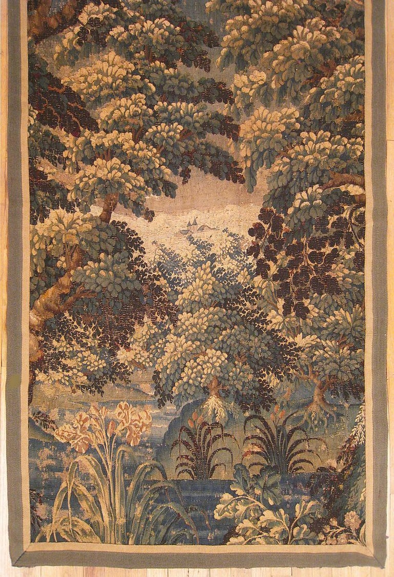 European 17th Century Flemish Verdure Landscape Tapestry, w/ a Forest, Trees, and Bushes For Sale