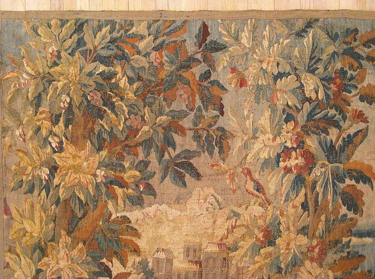 European 17th Cent. Flemish Verdure Landscape Tapestry, an Exotic Bird & A Lush Setting For Sale