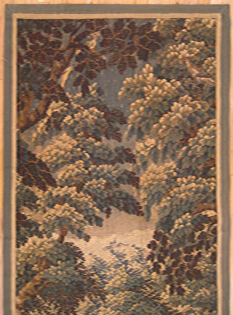 Hand-Woven 17th Century Flemish Verdure Landscape Tapestry, w/ a Forest, Trees, and Bushes For Sale