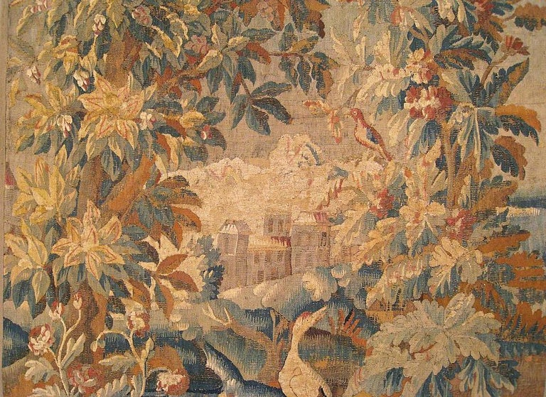 Hand-Woven 17th Cent. Flemish Verdure Landscape Tapestry, an Exotic Bird & A Lush Setting For Sale