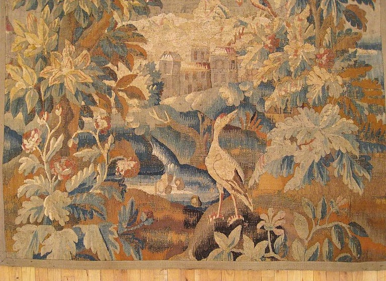 17th Cent. Flemish Verdure Landscape Tapestry, an Exotic Bird & A Lush Setting In Good Condition For Sale In New York, NY