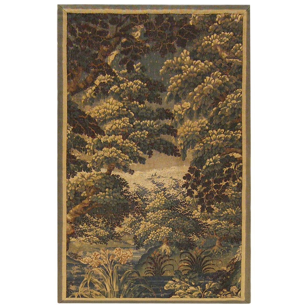17th Century Flemish Verdure Landscape Tapestry, w/ a Forest, Trees, and Bushes