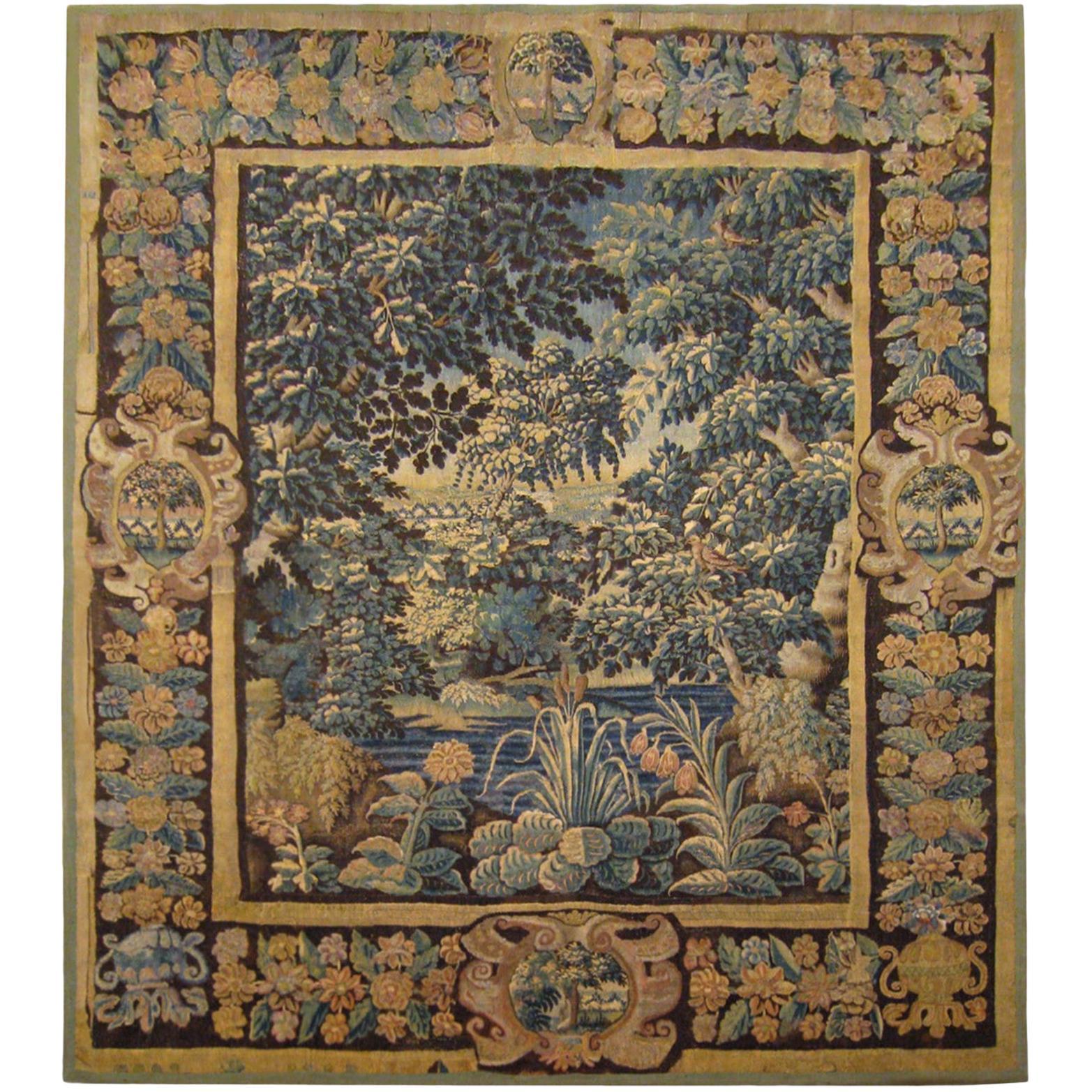 17th Century Flemish Verdure Landscape Tapestry, a Lush Forest & Pendant Border
