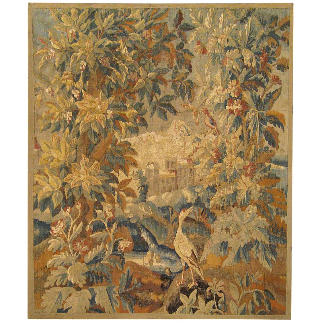 17th Cent. Flemish Verdure Landscape Tapestry, an Exotic Bird & A Lush Setting