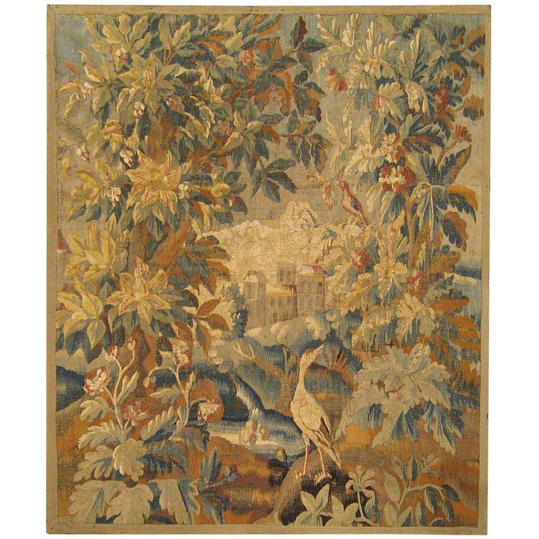 17th Cent. Flemish Verdure Landscape Tapestry, an Exotic Bird & A Lush Setting For Sale