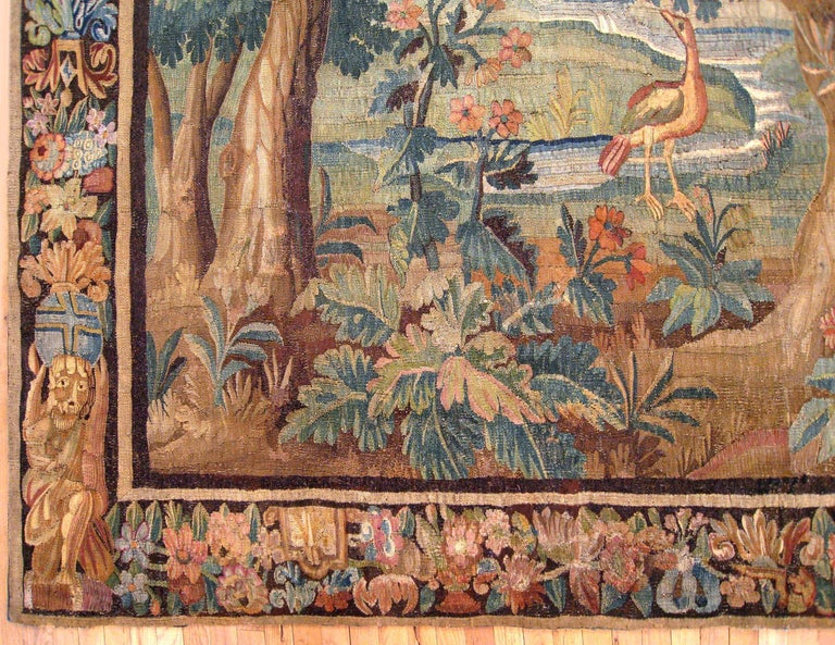 European 17th Century Flemish Verdure Landscape Tapestry, with an Exotic Bird by Lakeside For Sale