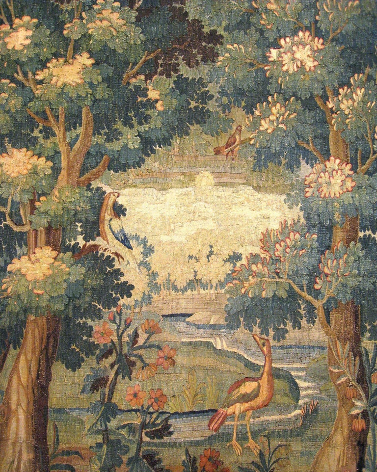 Hand-Woven 17th Century Flemish Verdure Landscape Tapestry, with an Exotic Bird by Lakeside For Sale