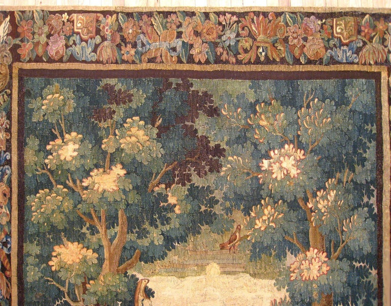 17th Century Flemish Verdure Landscape Tapestry, with an Exotic Bird by Lakeside In Good Condition For Sale In New York, NY