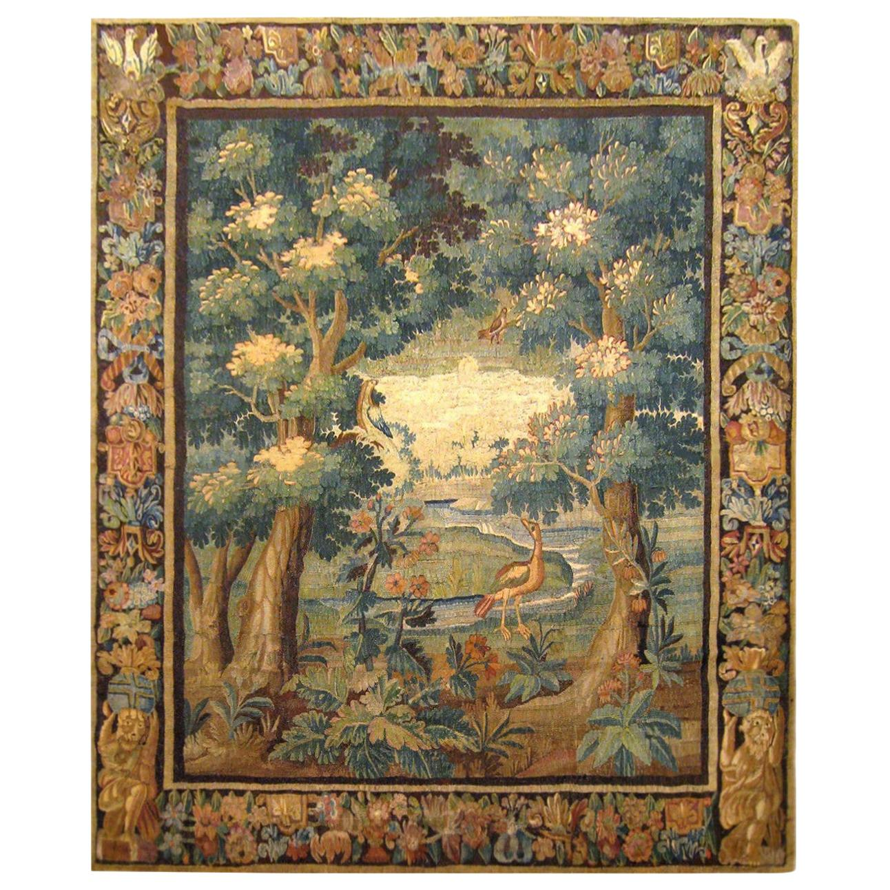 17th Century Flemish Verdure Landscape Tapestry, with an Exotic Bird by Lakeside