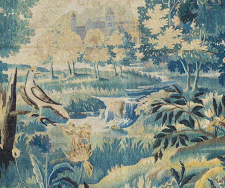Baroque Pair of Antique 17th Century Flemish Verdure Landscape Tapestry with Birds  For Sale