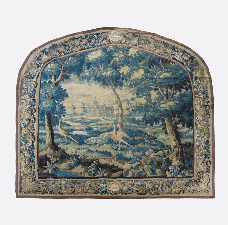 Belgian Pair of Antique 17th Century Flemish Verdure Landscape Tapestry with Birds  For Sale