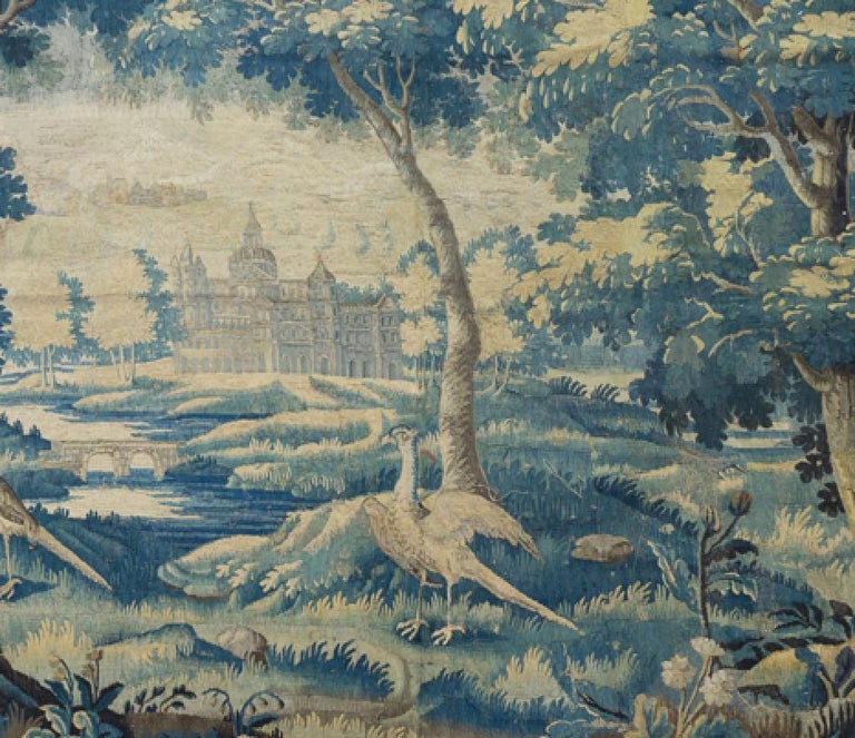 Hand-Woven Pair of Antique 17th Century Flemish Verdure Landscape Tapestry with Birds  For Sale