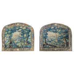 Pair of Antique 17th Century Flemish Verdure Landscape Tapestry with Birds