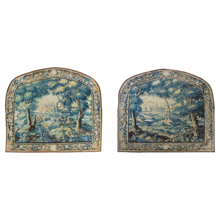 Pair of Antique 17th Century Flemish Verdure Landscape Tapestry with Birds  For Sale