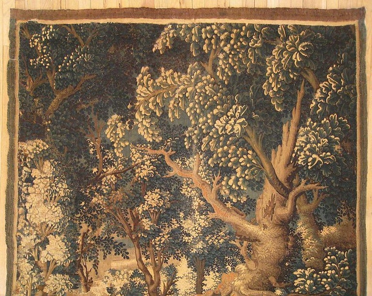 European 17th Century Flemish Verdure Landscape Tapestry, with Large Ancient Tree For Sale