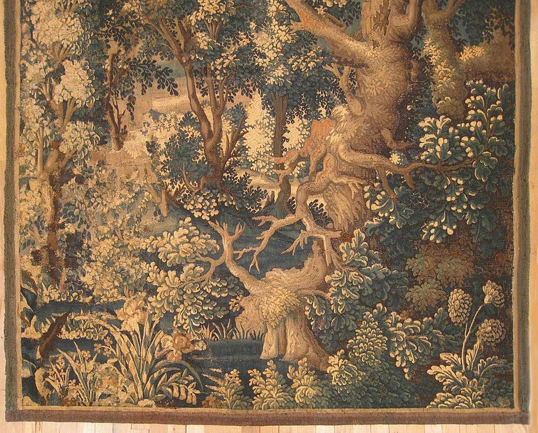 Hand-Woven 17th Century Flemish Verdure Landscape Tapestry, with Large Ancient Tree For Sale