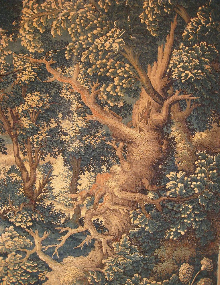 17th Century Flemish Verdure Landscape Tapestry, with Large Ancient Tree In Good Condition For Sale In New York, NY