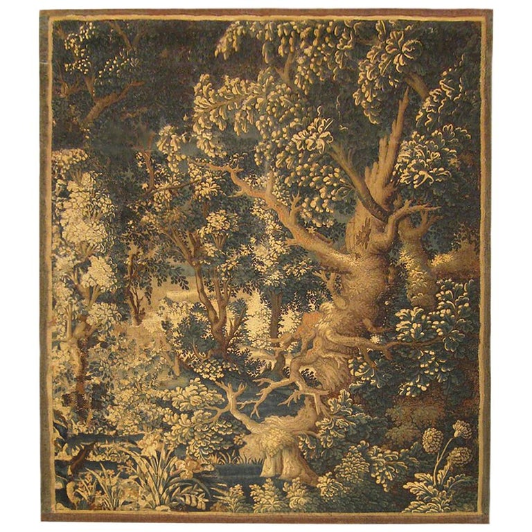 17th Century Flemish Verdure Landscape Tapestry, with Large Ancient Tree For Sale