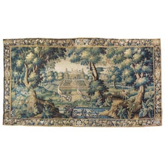 17th Century Flemish Verdure Landscape Tapestry with Peacocks