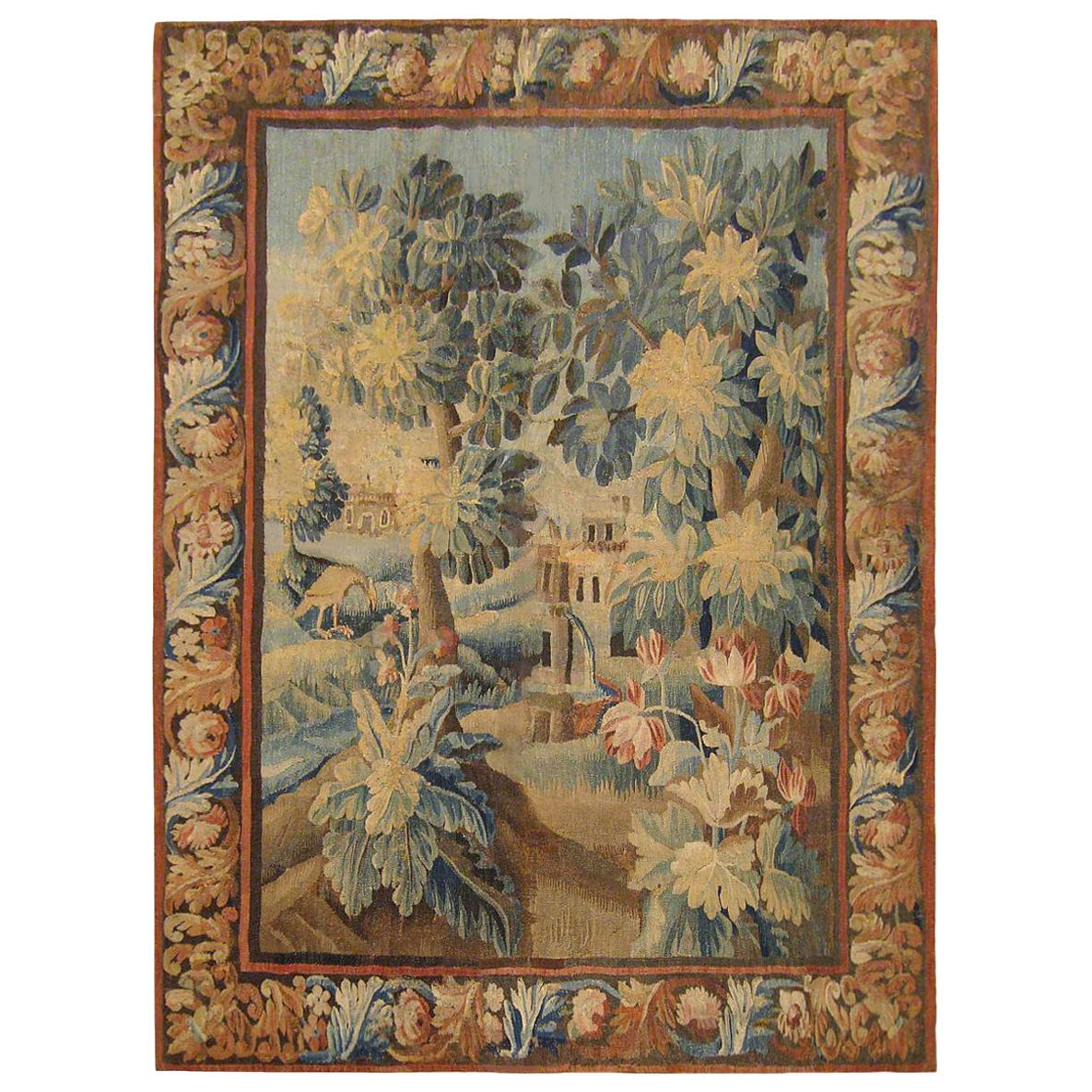 17th Century Flemish Verdure Landscape Tapestry, with Trees, Bushes and Flowers