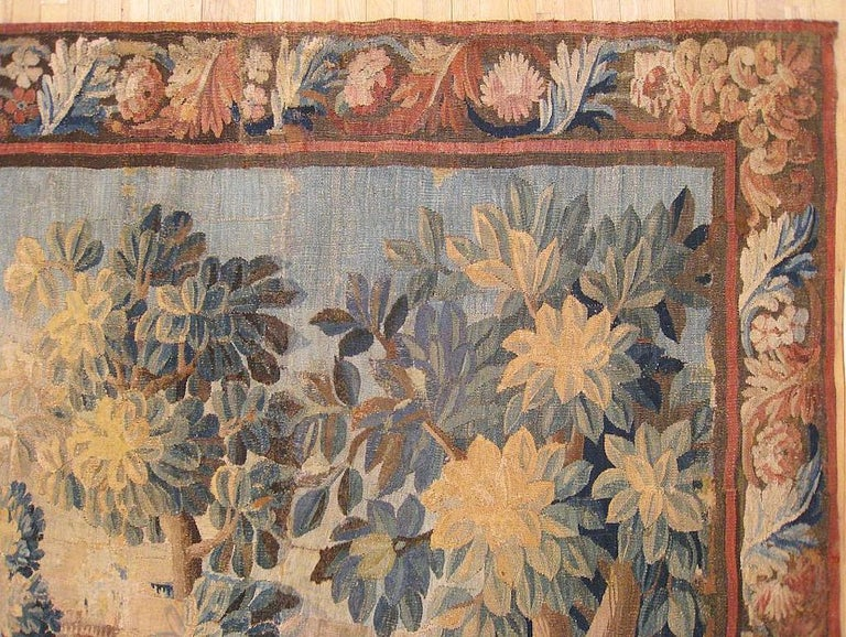 European 17th Century Flemish Verdure Landscape Tapestry, with Trees, Bushes and Flowers For Sale