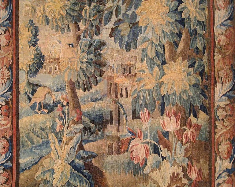 Hand-Woven 17th Century Flemish Verdure Landscape Tapestry, with Trees, Bushes and Flowers For Sale