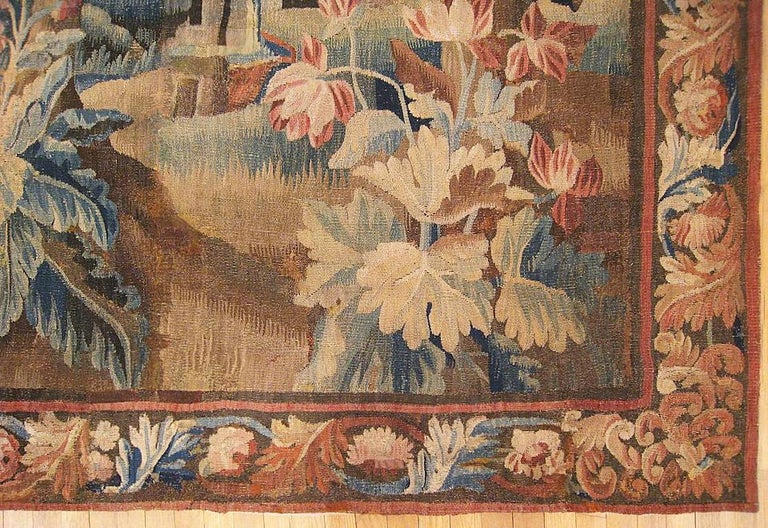 17th Century Flemish Verdure Landscape Tapestry, with Trees, Bushes and Flowers In Good Condition For Sale In New York, NY
